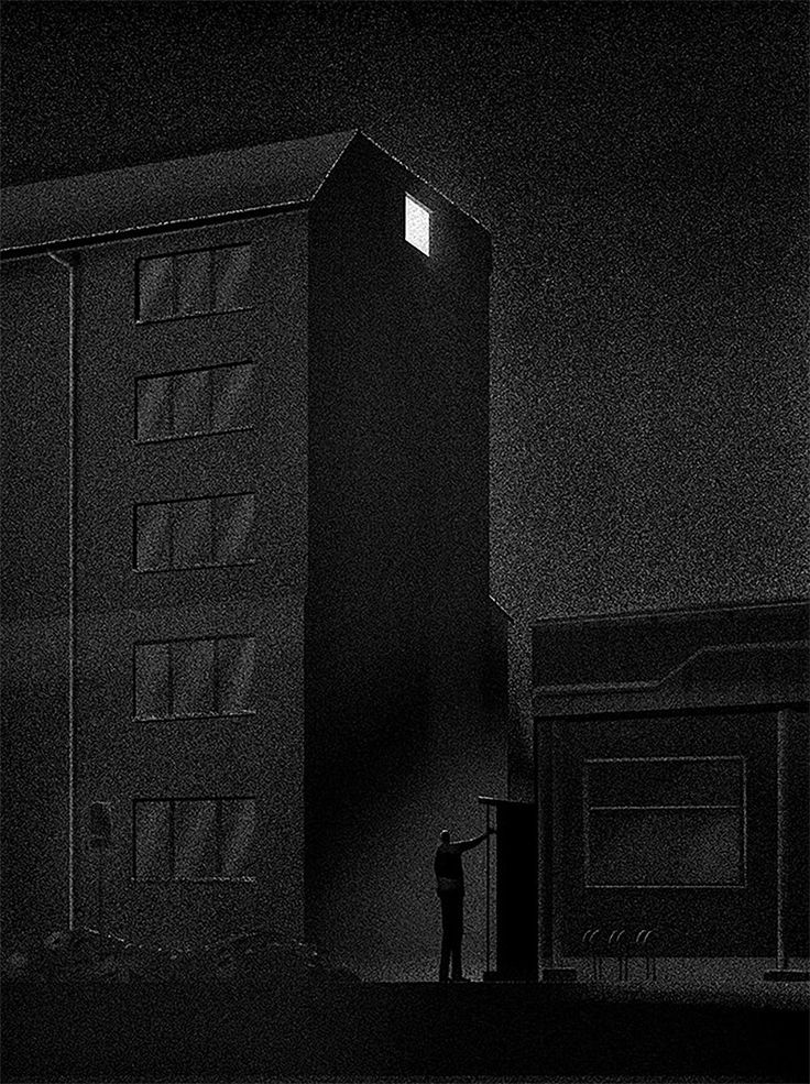"""Intriguing series of black & white illustrations by Finland-based artist Daniel Stolle.  """"I was born in Germany in 1982 and I am living in Finland. Since starting illustration in 2007, I have worked mainly in editorial illustration, but have been also involved in contributing drawings for book covers, stamps and animated films.""""  — Daniel Stolle  More illustrations via Design Collector"""