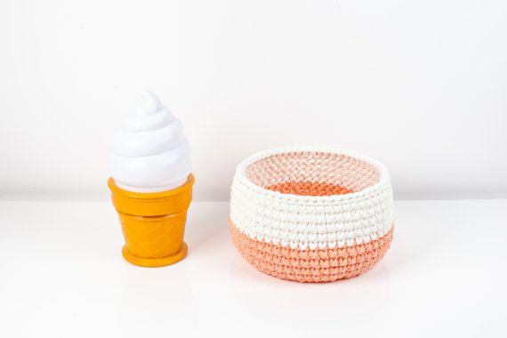 Eco Friendly Crochet Storage Basket - T-shirt yarn  - Interior Basket - Nursery Decor - Apricot/Vanilla - Modern Toys - Home Organizer