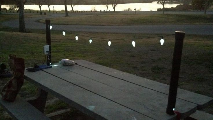 RV Mod: Outdoor Table Camping Light Idea - No Fun to Eat in the Dark