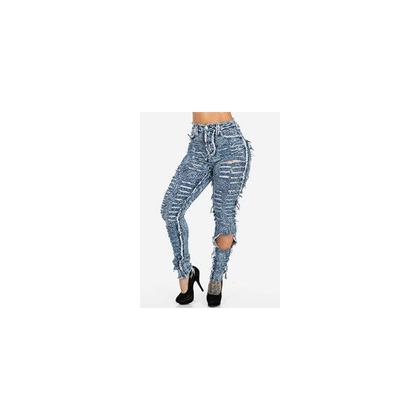 High Waist Skinny Ripped Blue Acid Wash Jeans ❤ liked on Polyvore featuring jeans, ripped skinny jeans, destructed skinny jeans, acid wash skinny jeans, super high-waisted skinny jeans and high rise skinny jeans