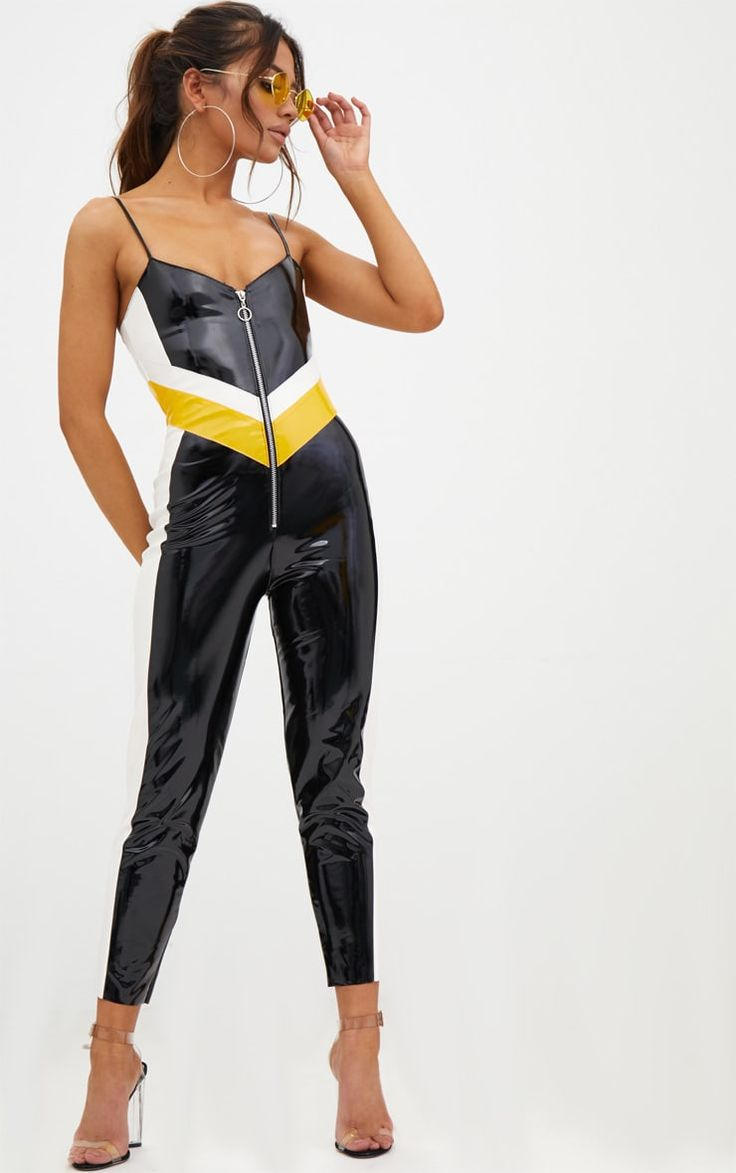 Petite Black Vinyl Contrast Panel Jumpsuit Gain confidence and become the fashion brave with this...