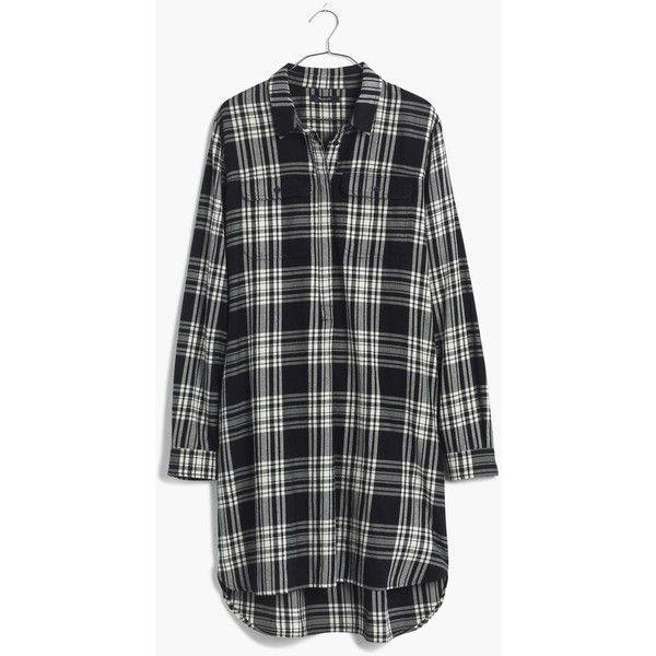 MADEWELL Flannel Daywalk Shirtdress in Glendale Plaid ($98) ❤ liked on Polyvore featuring dresses, true black, madewell dresses, long black shirt dress, black plaid dress, tartan shirt dress and tartan dress