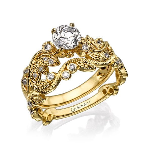 Gold leaves Engagement Set With Moissanite And Diamonds in 14k Yellow Gold Prong and halo setting bridal jewelry
