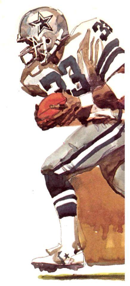 Tony Dorsett, RB Dallas Cowboys by Roy Andersen, 1979. #NFLFootballBoys