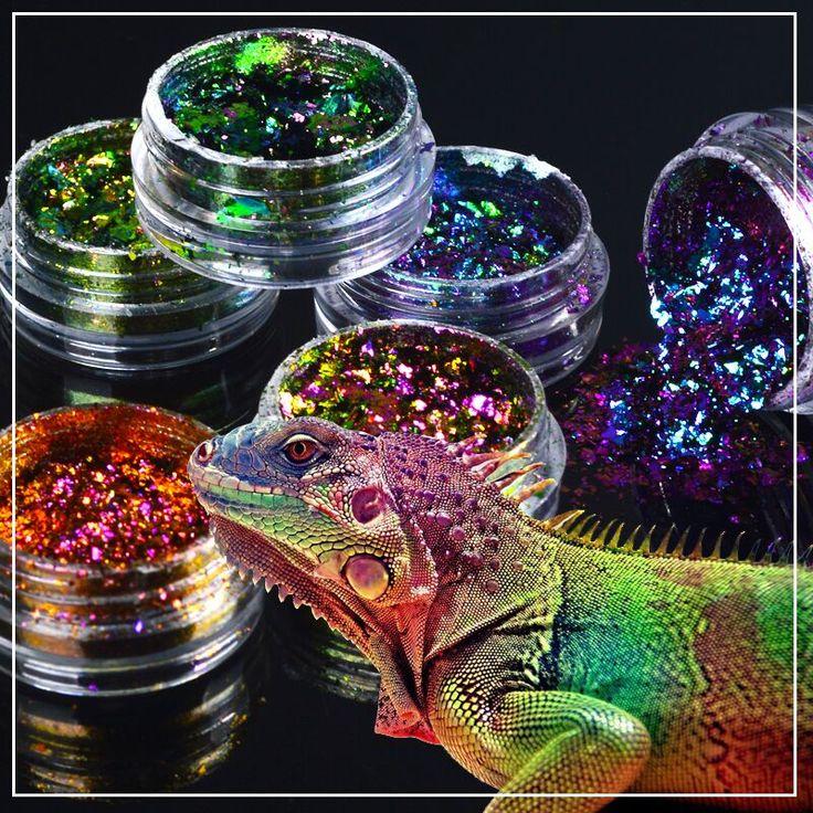 1 kotak Chameleon Nail Sequin Glitter holographic Dazzling Transparan Manicure Nail Art Glitter powder Debu Dekorasi Lembar