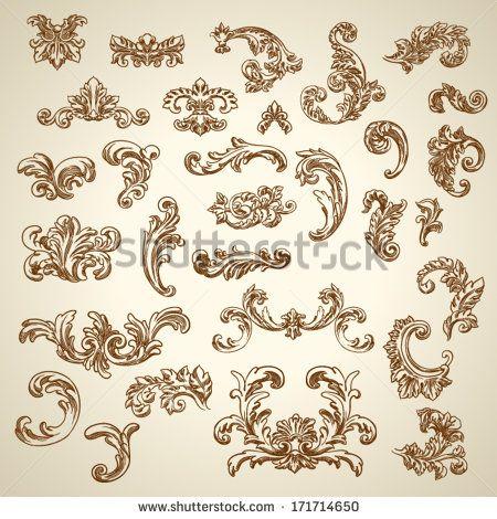 Set of vector vintage baroque engraving floral scroll filigree design