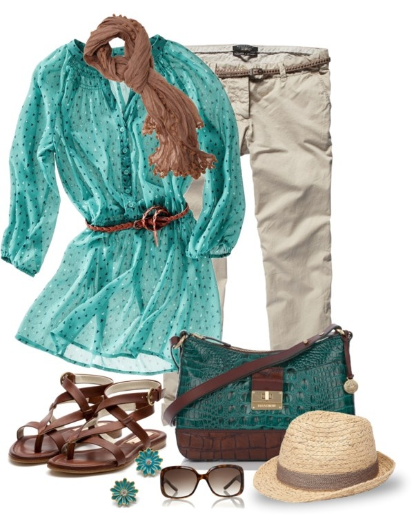 Spring Outfit.  Turquoise Top.  Beige Capri.  Brown Scarf, Belt & Sandals.  Turquoise & Brown purse.
