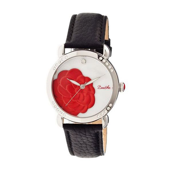 Women's Bertha Womens Watches Daphne Collection Red Flower - Black... ($122) ❤ liked on Polyvore featuring jewelry, watches, jewelry & watches, white, women's watches, engraved jewellery, red jewelry, white flower crown, white leather strap watches and stainless steel jewelry