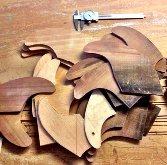 wooden surfboard fins