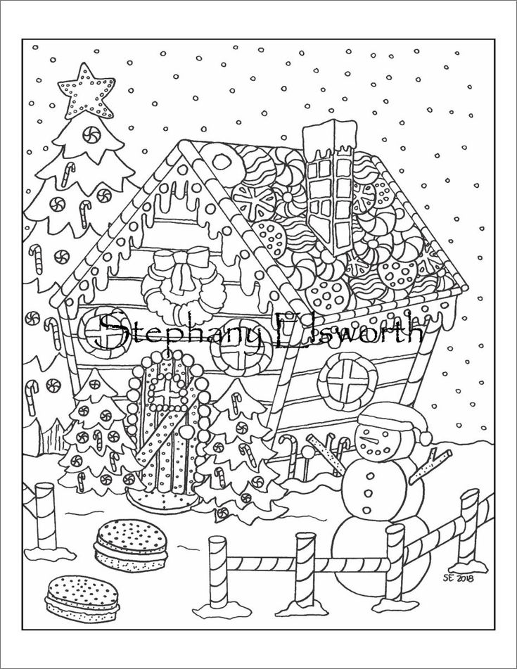 Gingerbread House Instant Download PDF Coloring Page