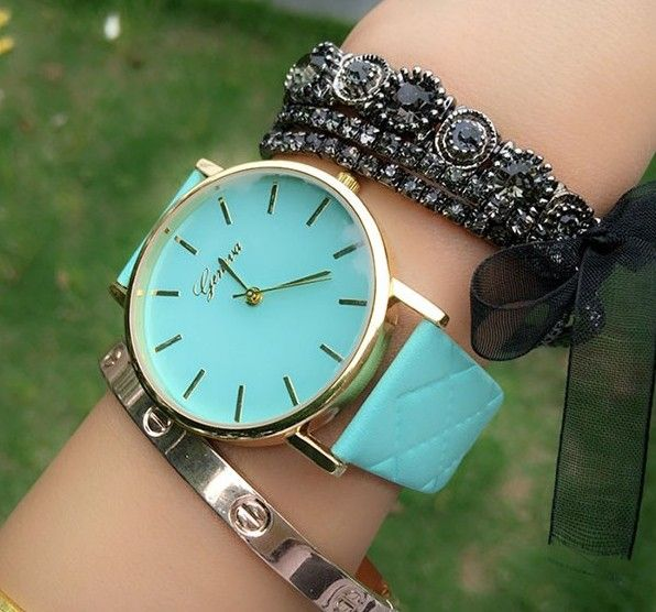 Zegarek GENEVA Platinum skórzany pasek pikowany EdiBazzar