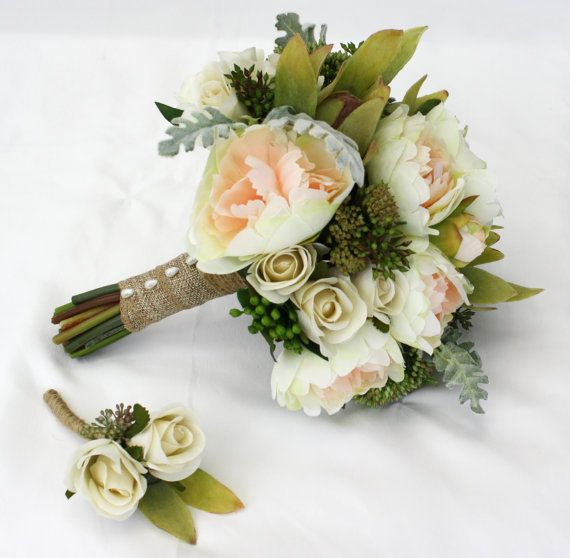 Peony Bridal Bouquet - Peach Peonies with Green Native Flowers -  Keepsake Peony Wedding Bouquet with Buttonhole for Groom