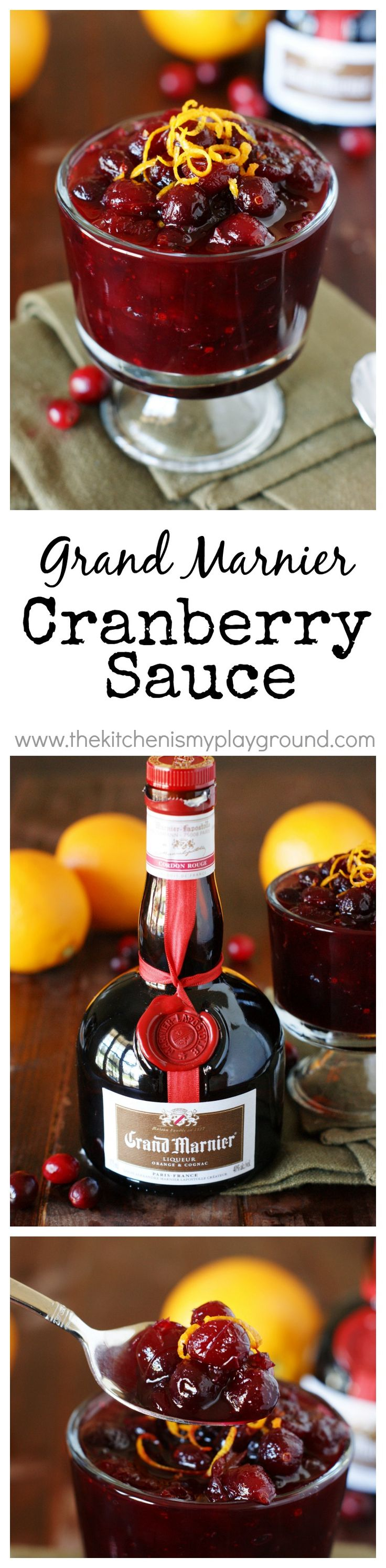 Grand Marnier Cranberry Sauce ~ a wonderfully-flavorful, nicely-balanced sauce that will be the perfect #cranberry accompaniment to your Thanksgiving or Christmas meal!  #cranberrysauce #Thanksgiving #Christmas www.thekitchenismyplayground.com