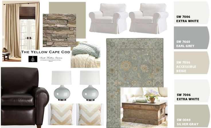 The Yellow Cape Cod: Family Friendly Living room Design Plan Color Scheme.