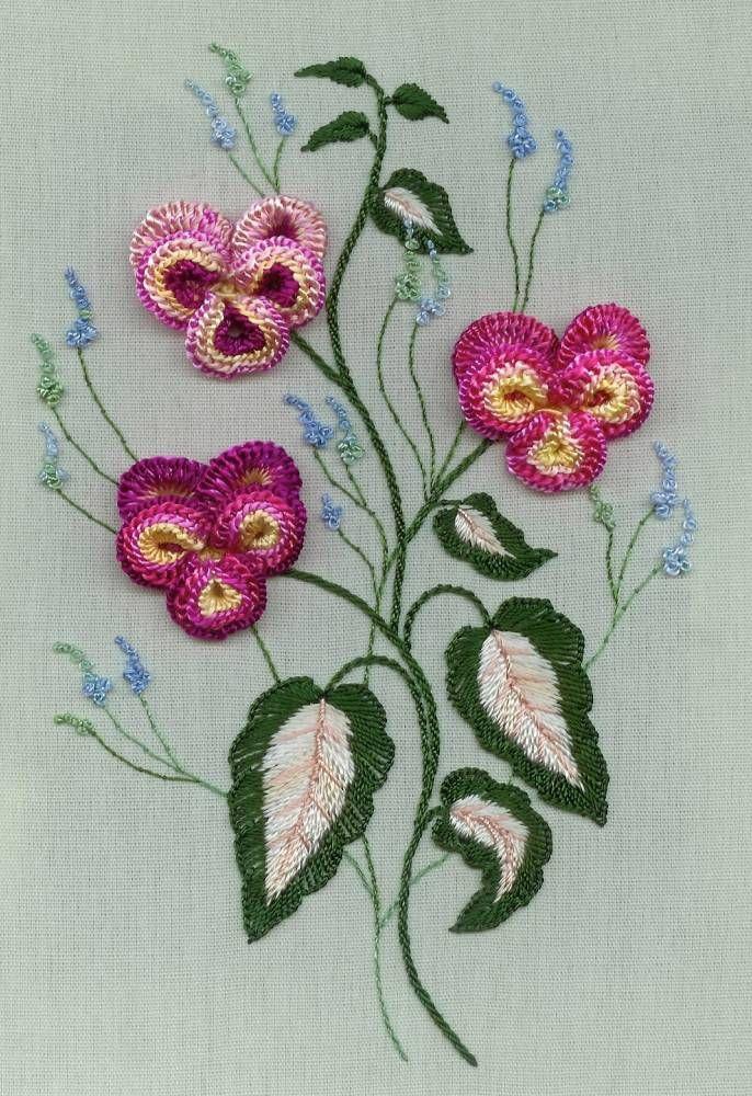 "** ""Pansy Parade"" Brazilian Dimensional Embroidery Pattern  @DKDesignsandrworthey"