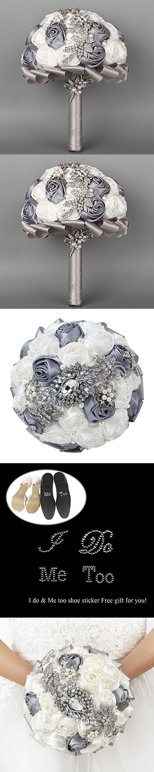 Hand Made Silk Rose Rhinestone Brooch Wedding Bouquets Customization Pearls Bride Holding Flowers