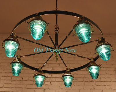 chandelier made from vintage electric insulators