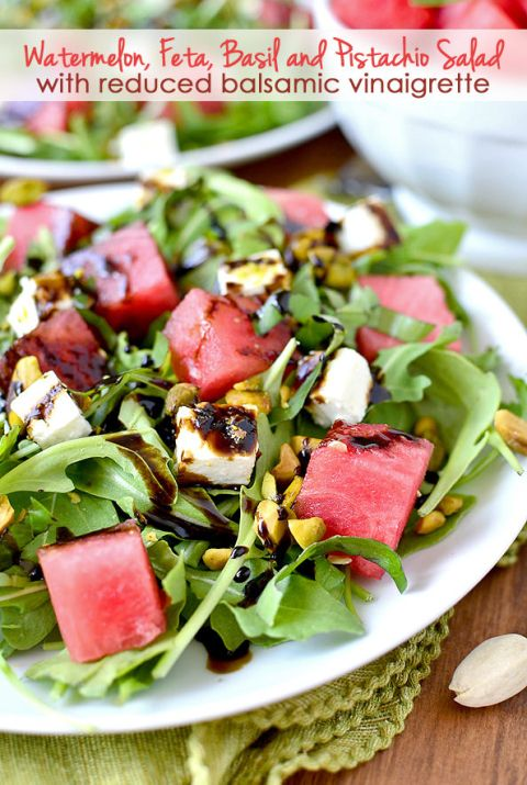 Watermelon, Feta and Pistachio Salad with Reduced Balsamic Vinaigrette | iowagirleats.com