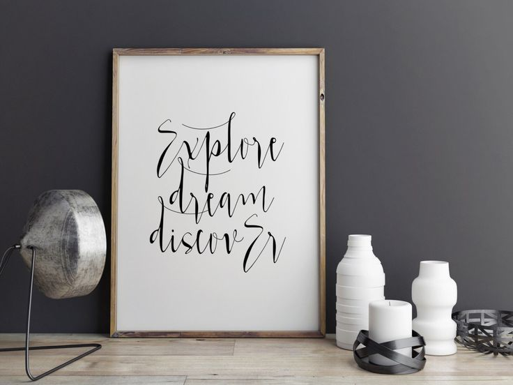 """Typography art """"Explore Dream Discover"""" Motivational quote Inspirational poster Wall ArtWork Wall art print Home decor Inspirational print by BlueBookDesign on Etsy https://www.etsy.com/listing/254560981/typography-art-explore-dream-discover"""