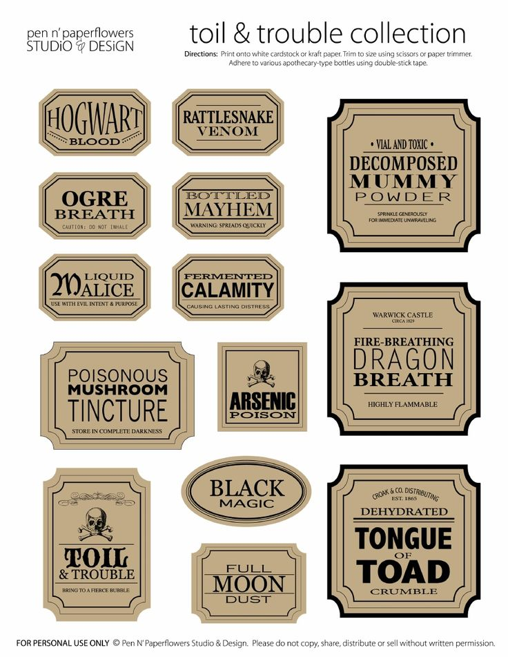 free printable halloween bottle labels quotes