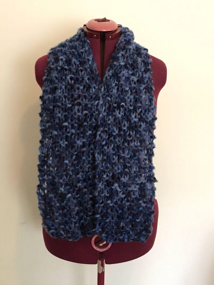 Blue & purple knit scarf from CraftyChicHandmade