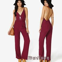 Wine Red V-neck romper Size:XS,S,M,L,XL,XXL Size choose Please check the picture. Source of photo: Others