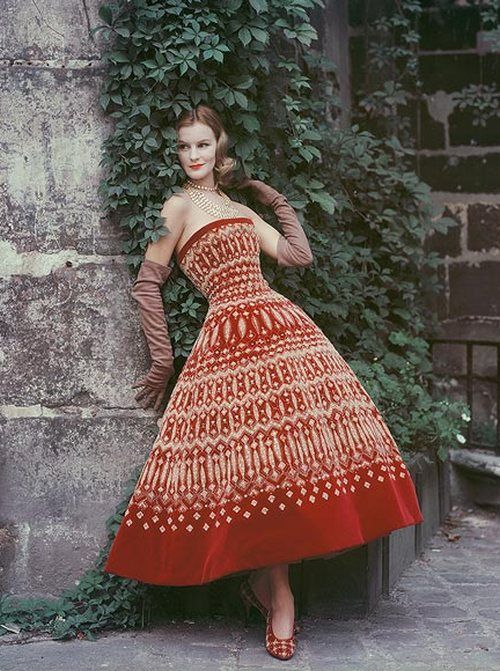 Amazing fabric Couture in a Paris Courtyard, 1955.  Photo by Mark Shaw.