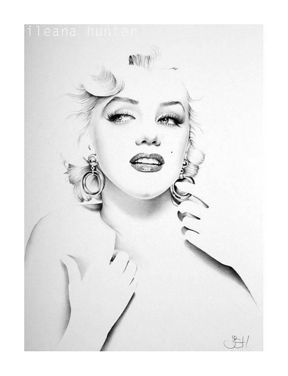 A minimalist portrait of Marilyn Monroe.      Original pencil drawing by Ileana Hunter.      Size: 11 x16       Support: Extra smooth surface