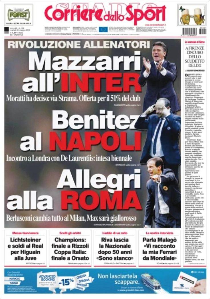 Corriere dello Sport (21 de mayo de 2013) Portadas