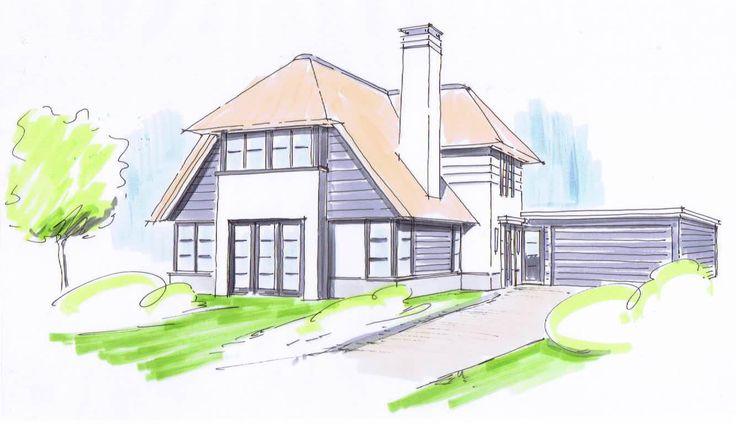 Wit gekeimde rietgedekte nieuwbouw villa met grote schoorsteen, spekranden en hout in de gevel te Dongen 01 Architecten Nijverdal