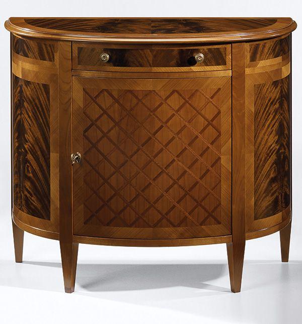 Louis XVI Style Demilune Cabinet With Cherry Veneer And Crisscross Mahogany Inlay