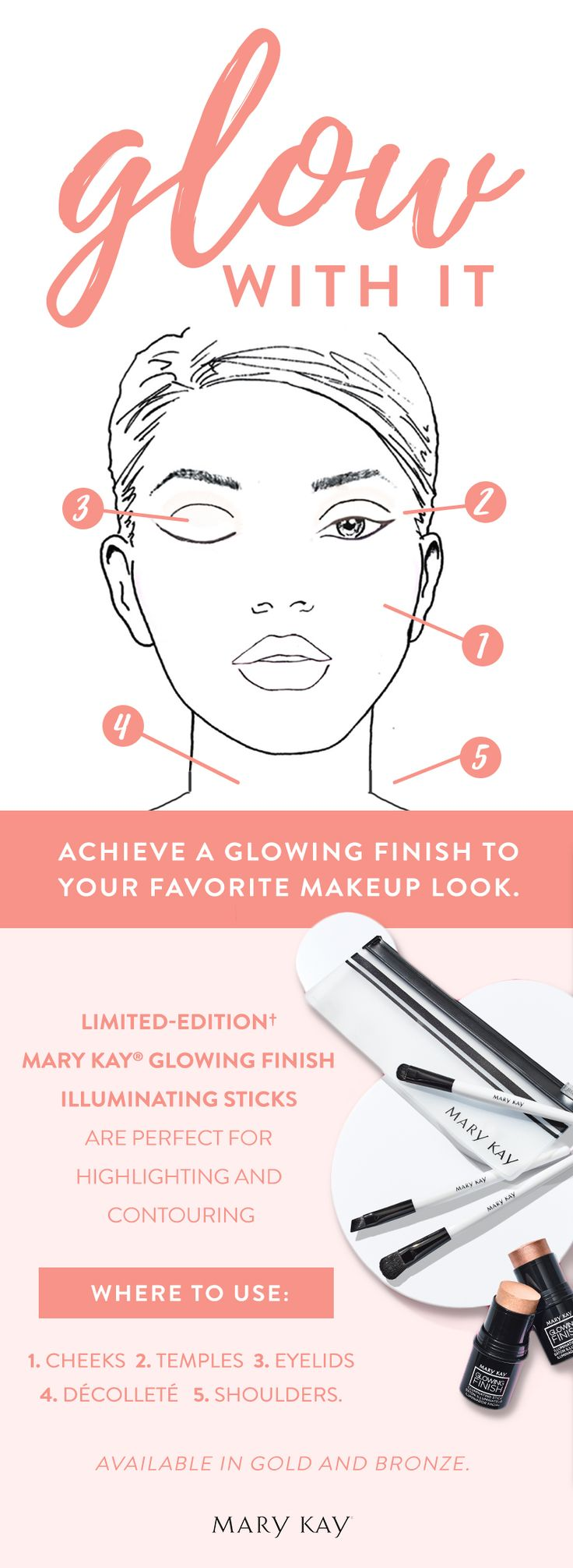 Ready to glow with it? Highlight and contour with the Limited-Edition† Mary Kay® Glowing Finish Illuminating Sticks! The mini, purse-size stick is great to take along to holiday parties.