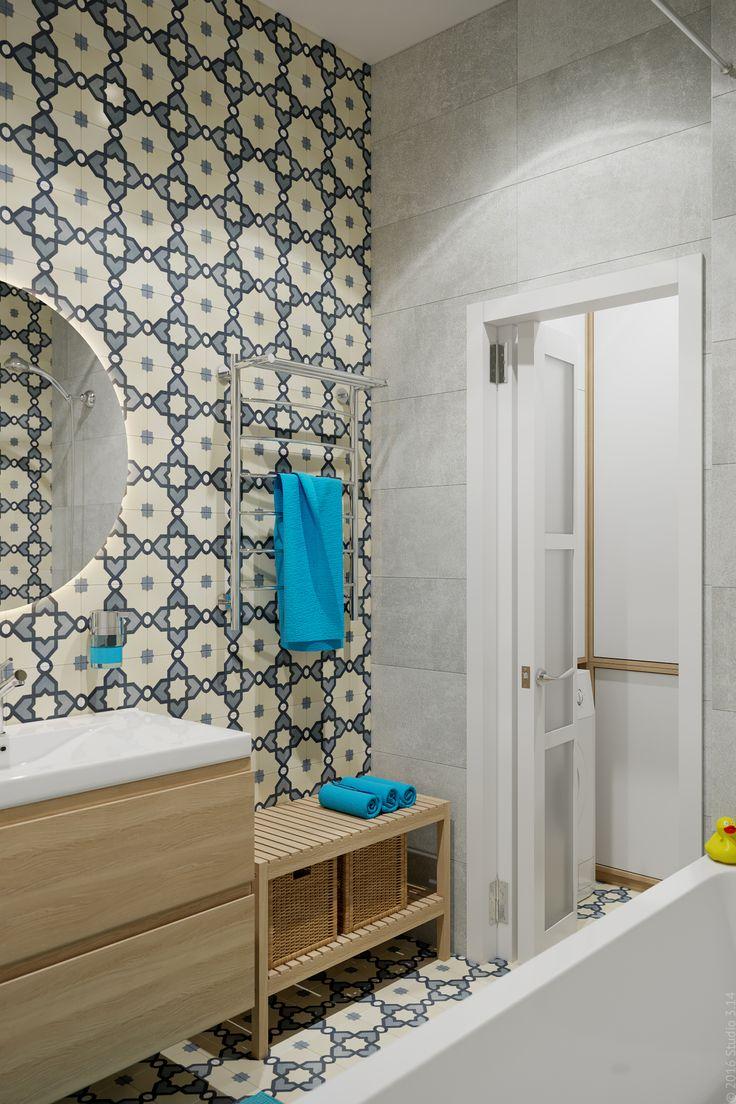Ванная объединена с туалетом, но помещение зонировано с помощью перегородки с дверью-гармошкой.