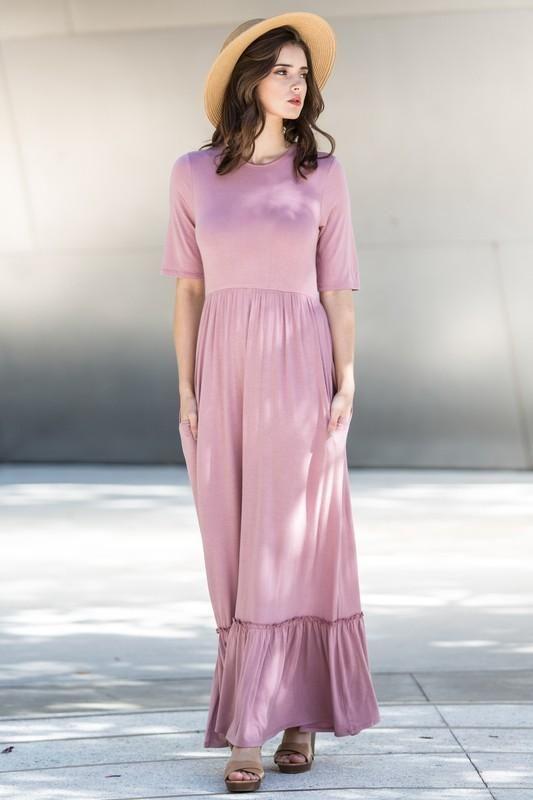Ruffle Bottom Maxi Dress Pink In 2018 Women Dresses Accessories Ruffles Making