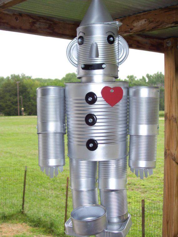 Tin man bird feeder etsy crafts pinterest tin man for Bird feed tin