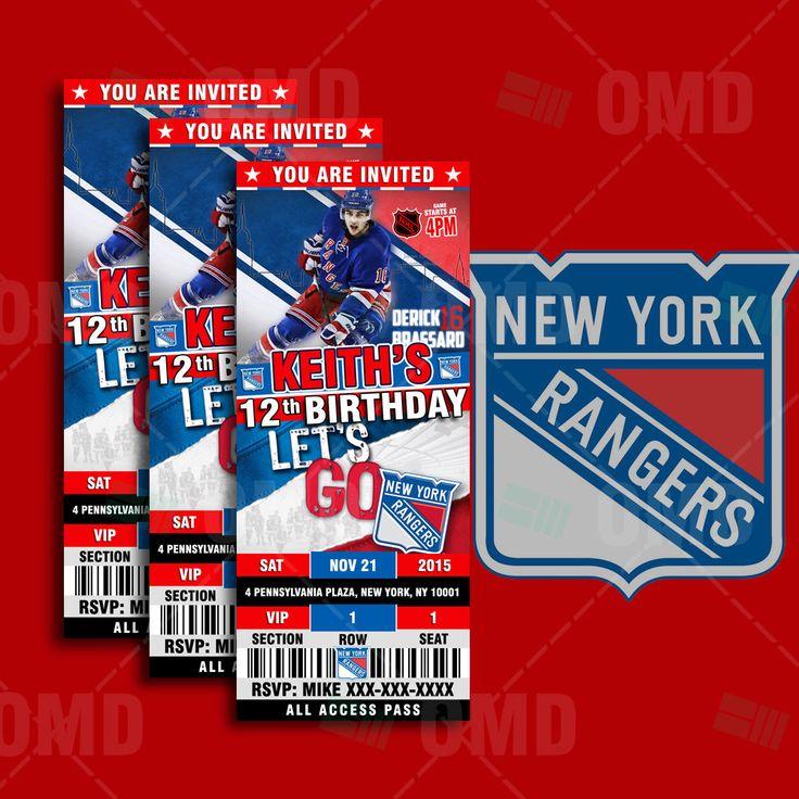 2.5x6 New York Rangers Hockey Sports Party Invitation, Rangers Sports Tickets Invites, Hockey Birthday Theme Party Template by sportsinvites