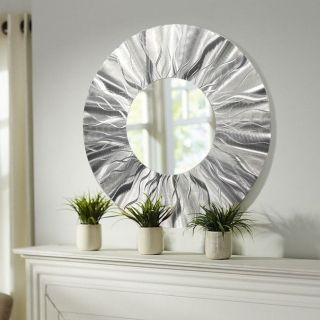 Mirror 105   Contemporary Silver Round Wall Mirror   Large Wall Mirror,  Modern Metal Wall