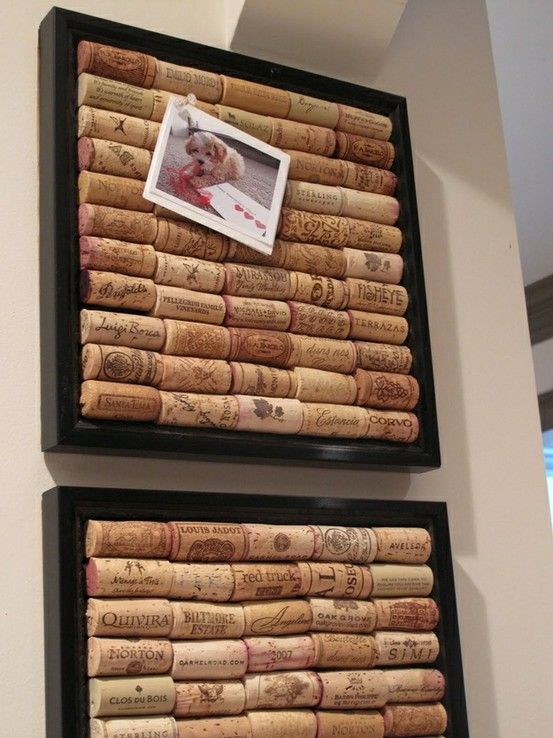 glue corks into a picture frame to make a bulletin board