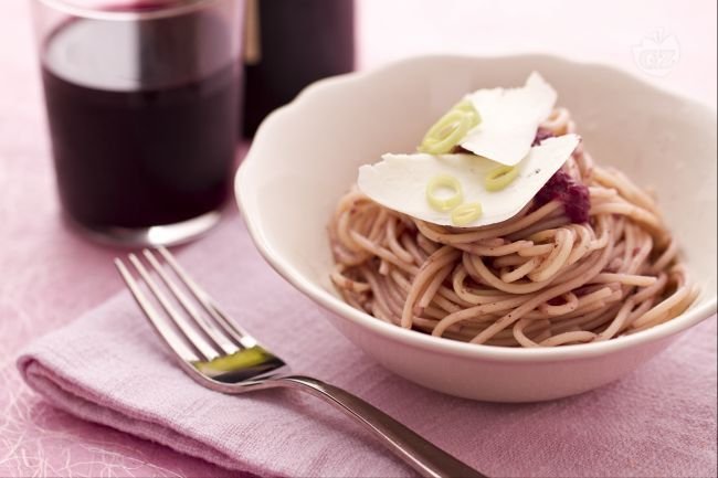 Spaghetti al #chianti e #porri