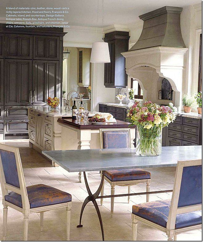 Exceptional Zinc Table And Antique Chairs By Suzanne Kasler