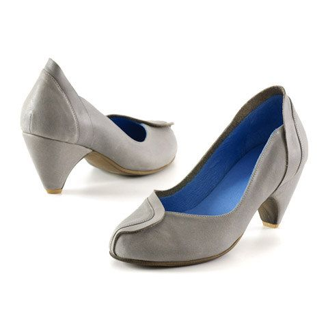 womens gray shoes grey leather pumps high heels shoes by MYKAshop, $219.00
