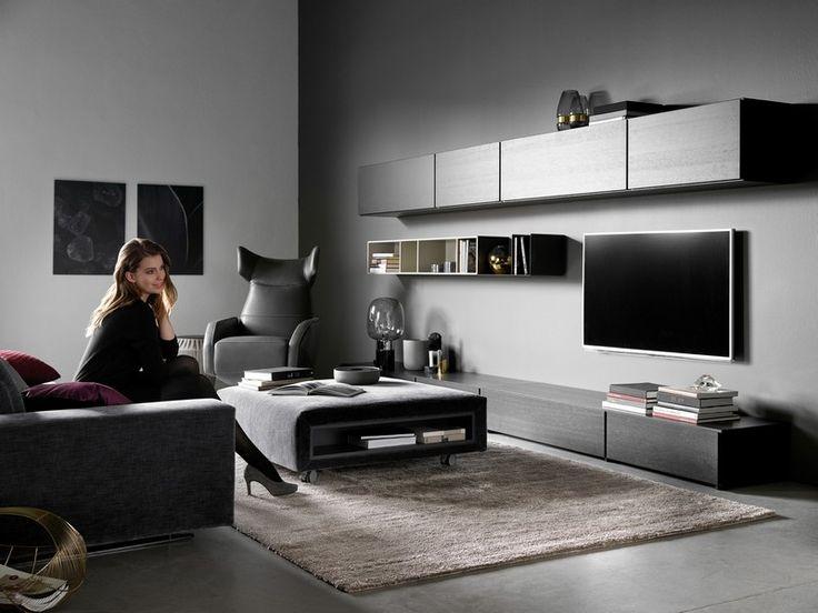 Lugano designer floating TV unit - Black