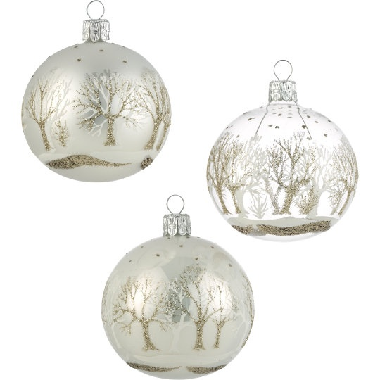 "Winter Tree Ball Ornaments....I've use the clear ones with white flocked trees on them from Hobby Lobby and filled them with a little ""snow"""