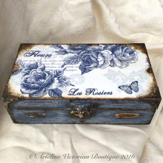 Wooden Jewellery Box, Shabby Elegance, Rustic Make Up Box, Cottage Chic, Floral Keepsake Box, Victorian Vintage, Parisian Blue Trinket Box, Decoupage jewellery box with a beautiful pink and duck egg blue bohemian vintage roses design. Shabby elegance, cottage chic, victorian, rustic, French style keepsake. A very pretty jewellery gift box, make up, storage gift box.   This is a made to order item.  Please note that because all my items have been handcrafted by myself and not by machine…