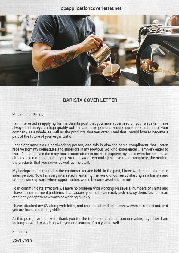 Writing A Cover Letter Cover Letters Barista