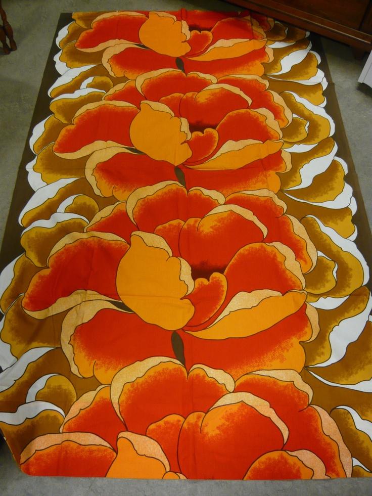 """Fin-Helen of Finland Jaakko Toivola """"Julia"""" Vintage Floral Fabric 80's"""