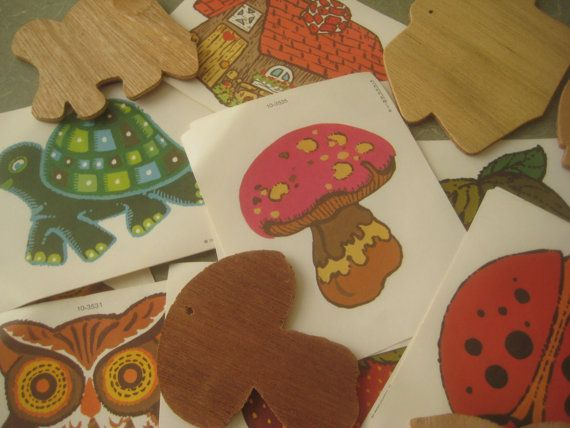 Vintage Wooden Keychains, Decoupage Kit to Make Six 1970s Key Chains, Owl, Mushroom, Turtle, 1970s Crafting. $10.50, via Etsy.