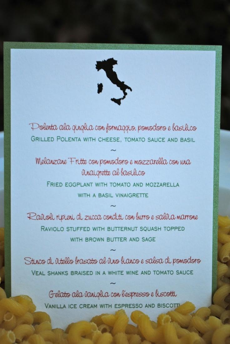 Italian Dinner Party Menu Card
