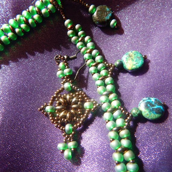 Green shade Turquoise and seed Bead Woven Necklace and Earrings Set, Game of Thrones style, Celtic, Once Upon a Time $50.00