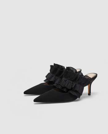 f2ca6f352ec LEATHER MULE COURT SHOES WITH RUFFLES